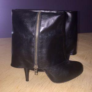 SM New York Fold Over Black Zip High Heel Boots 7